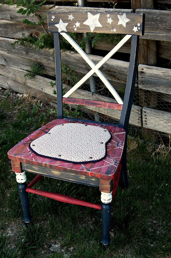 "HANDPAINTED CHAIR.  ""Hero Series - Sacrifice"".  Vintage.  Americana. Distressed. Strong and Sturdy."