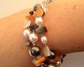 Three Strand - Fresh Water Pearl and Semi Precious Stones Bracelet - pink, white & black