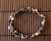 AMETHYST - Fresh Water Pearl and Semi Precious Stones Bracelet - purple, black, silver