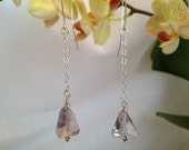 Pink Amethyst and Stirling Silver Drop Earring