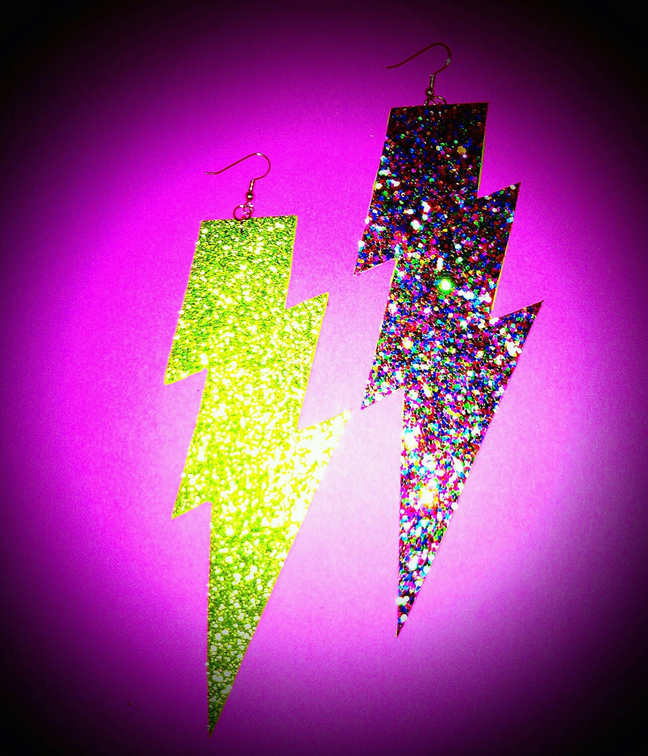 Bold Rainbow Multi Colored Sparkle Lightning Bolt Earrings