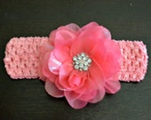 Stretch Crochet Pink Headband with a glamorous large shiny pink flower and gem cluster center - For Baby