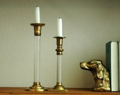 Vintage Set of Brass and Acrylic Candle Holders