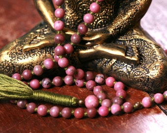 108 Mala Beads Rhodonite Meditation Prayer Beads Yoga Jewelry Japa Mantra Buddhist Rosary