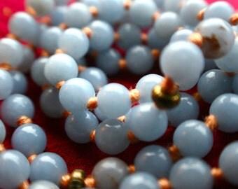Angelite Knotted 108 Mantra Mala, Meditation, Prayer Beads, Yoga jewelry