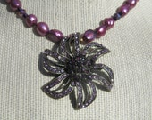 Pearl and Crystal Statement Necklace, Purple Freshwater Pearls, Bronze Crystal Pendant  178
