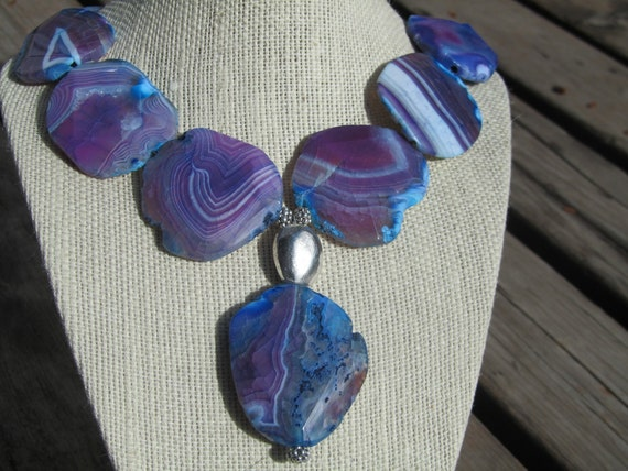 RESERVED FOR CHRISTINA  Agate Statement Necklace, Blue Purple Faceted Agate Slabs  112