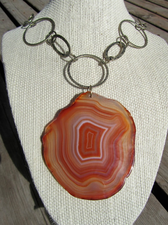 Agate Statement Necklace, HUGE Agate Geode Slice Pendant, Adjustable   121