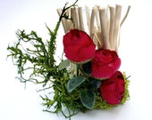 Wood candlestick with  Arranged Artificial Flowers