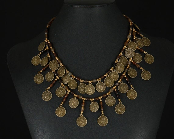 Dramatic layered Gypsy coin necklace by Sylvan Creations. Zinc alloy coin reproductions, onyx beads.
