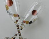 Hand Painted Champagne Glasses - Painted Toasting Flutes Set