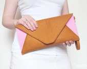 Brown ginger and pink felt clutch