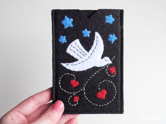 Black felt iPhone case with bird