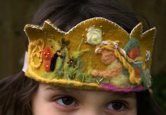 Waldorf Birthday Crown - SALE- organic - plant dyed  wool felt - Summer Flower Fairy