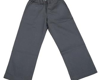 Boys pants in grey gabardine and back pocket