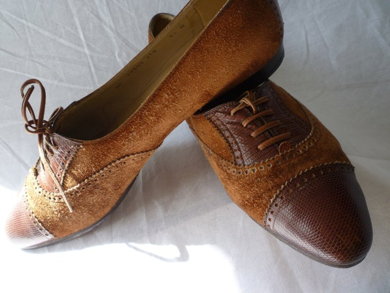FERRAGAMO.Dainty BROGUE style Brown Suede ,calf and Lizard  Lace up SHOES
