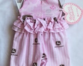 Erica John Deere Inspired Pink Halter and Pant Set size Newborn