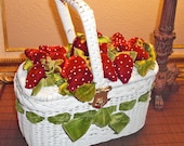 Vintage 1950s/60s Rare White Wicker Purse/handbag-with Velvet Red Strawberries Green velvet Ribbon/Fun Flower Basket for Wedding