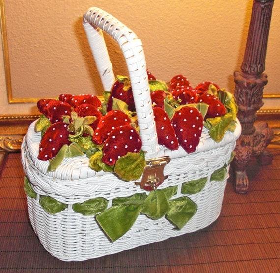 Vintage 1950s/60s Rare White Wicker Purse/handbag-with Velvet Red Strawberries Green velvet Ribbon/Fun Flower Basket for Wedding