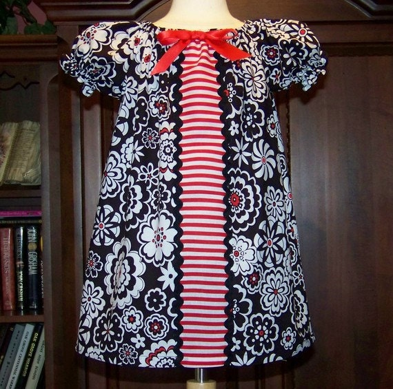 C-L-E-A-R-A-N-C-E. Black White Red Dress with Ric Rac Trim. Size 2 (2T) Only. Ready to Ship.