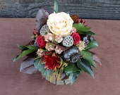 Rustic Bark Vase Centerpiece with Preserved Champagne and Burgundy Roses and Woodland Foliage, Rose Centerpiece, Woodland Centerpiece