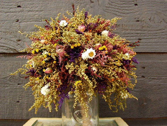 Country Wedding Maid/Matron of Honor Bouquet with Primitive Sweet Annie Rosebuds and Rustic Dried Flowers 083