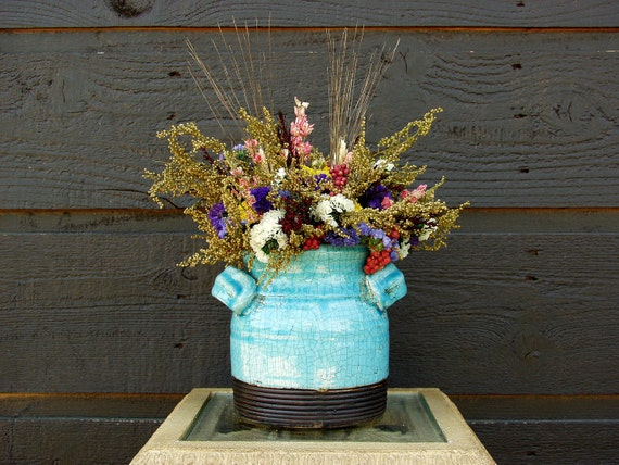 Gift, Dried Floral Arrangement, Farmhouse Decor, Blue Pottery Crock with Rustic Dried Flowers  055