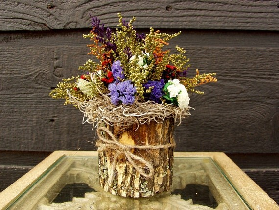 Gift, Primitive Country Woodland Bark Vase with Sweet Annie and Rustic Dried Flowers 064