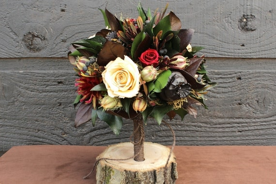 Rustic Wedding Bouquet, Woodland Wedding, Bridal Bouquet with Preserved Champagne and Burgundy Roses and Foliage 106