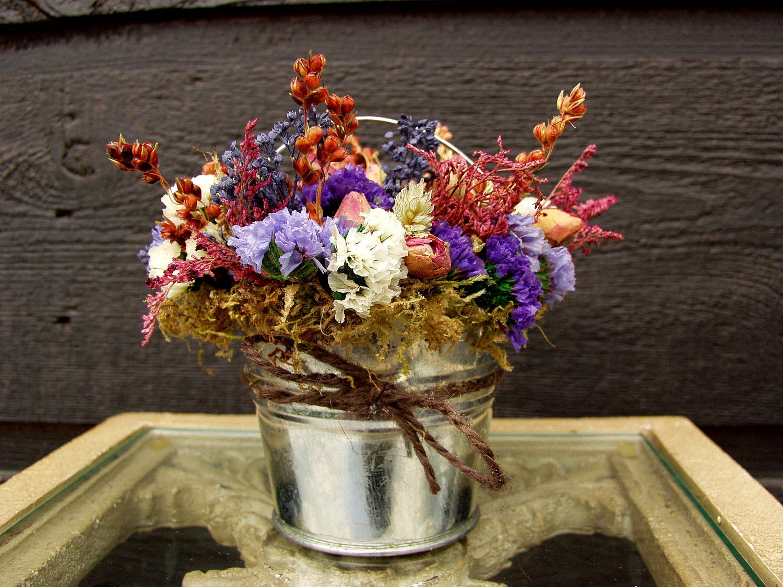 Mini Centerpiece Table Arrangement Primitive Tin Bucket with