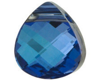 Set of 2 Swarovski 6012 15x14mm MaliBlue Flat Briolette Pendants (sku 5755 - 6012-15-MAL)