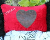 Red Velvet Pillow with Black Feather Trim