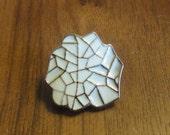 Oganic Leaf Metal Button/ Charm, 1 Inch x 7/8 Inch