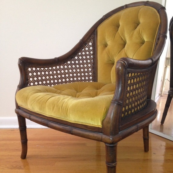 Hollywood Regency Faux Bamboo and Cane Chair