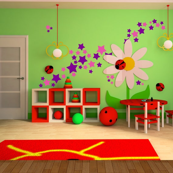 Star Wall Decals (140) Stickers Girls Room Wall Vinyl Sticker Art Decor Decal Nursery Star Shapes