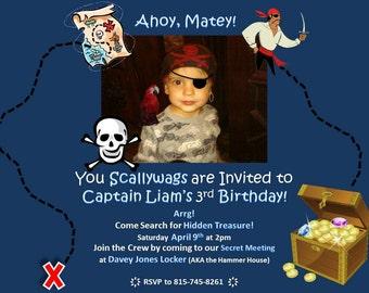 PirateBirthday Party Invitations- Custom Made
