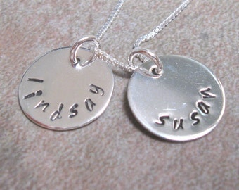Personalized mom necklace, grandma necklace, sterling silver, two disc, hand stamped, mom, mommy, mother, gift for mom, gift for grandma