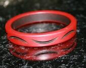 Bakelite Bracelet Bangle Vintage Carved