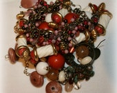 Brown Rust Jewelry Destash Lot: repairs, art, mixed media, for wear, collage