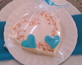 Blue & Gold Wedding Cookie Favor