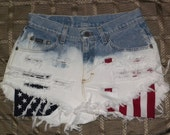 Small Vintage HIGH WAIST Blue/Bleached/Ombre Denim Distressed/Ripped/Frayed SHORTS with American Flag Pockets