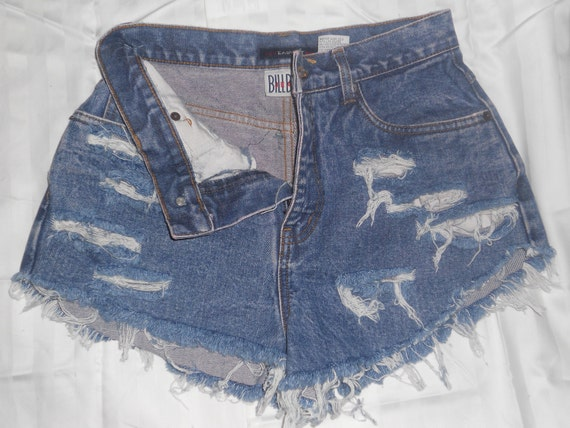 Vintage HIGH WAIST Blue Acid Wash Distressed/Ripped Denim Shorts