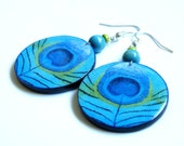 Peacock feather. Decoupage earrings with glass effect. Graphics on both sides. Blue. Perfect for the summer.