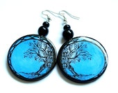 Tree.BLUE, black.SUMMER  round earrings, decoupage, graphics on both sides. Glass effect. Gift .