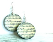 Music  earrings decoupaged.Vintage
