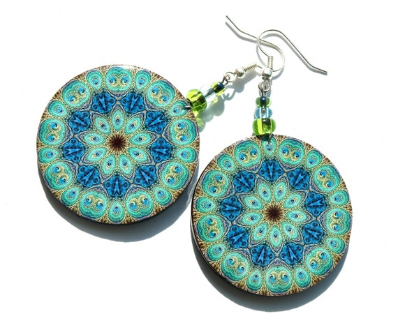 Peacock mandala earrings- round earrings- green blue navy blue turquoise yellow - christmas gift for her - earrings decoupage