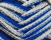 3 Skeins Ice Yarns Soft Frilly  Ruffle Scarf Yarn Blue Grey Navy.