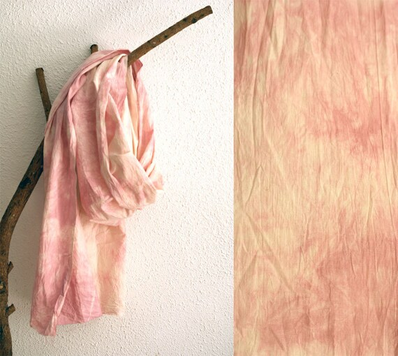 Oversized Hand Dyed Cotton Scarf. Marble Rose.