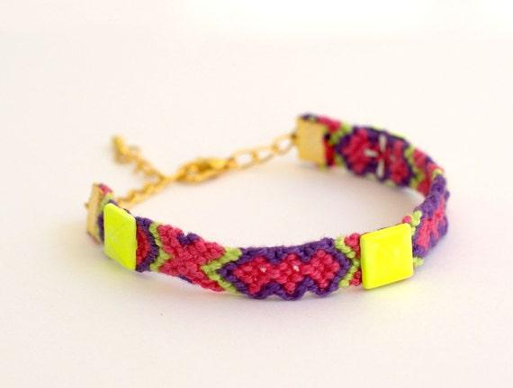 RESERVED FOR CELINE. Neon Studs. Neon Tribal Bracelet.