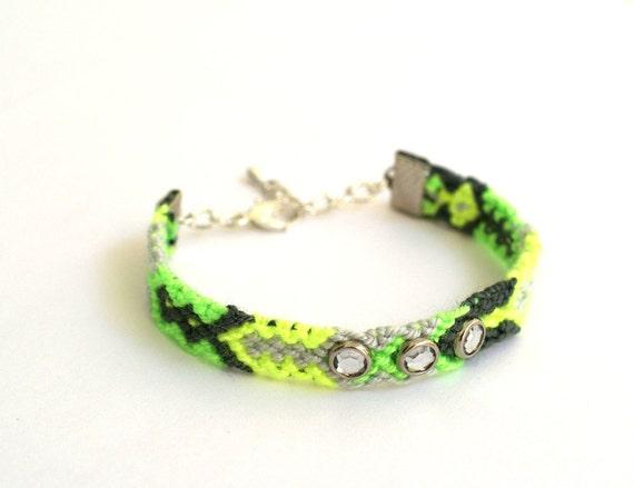 Lime Friendship Bracelet with Crystal Studs.